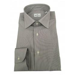 BRANCACCIO man long sleeve shirt white / blue / dark brown mod LUKE ABN0604