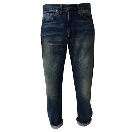 LEVI'S VINTAGE CLOTHING jeans uomo mod 501z 1954 STONE con zip 100% cotone