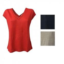 LA FEE MARABOUTEE T-shirt Donna manica scesa collo a V 100% lino mod FB3503