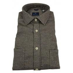 BRANCACCIO man long sleeve shirt flannel brown / ecru double pocket mod MARTIN ABL0404