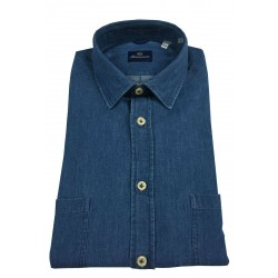 BRANCACCIO man long sleeve shirt light denim double pocket mod MARTIN ABF0201