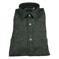 BRANCACCIO camicia flanella manica lunga blu doppio taschino MARTIN ABL1909