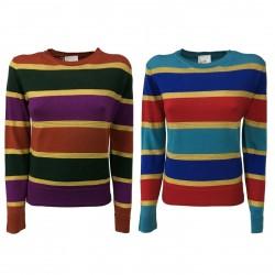 NODO maglia donna girocollo a righe laminato + 100% lana art TATL055 MADE ITALY