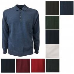 FERRANTE polo uomo manica lunga 100% lana MADE IN ITALY mod G22603