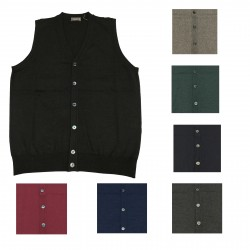 FERRANTE men's vest with buttons 100% wool MADE IN ITALY