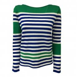 VICOLO TRIVELLI maglia donna bluette/bianco/verde 8818 100% lana MADE IN ITALY