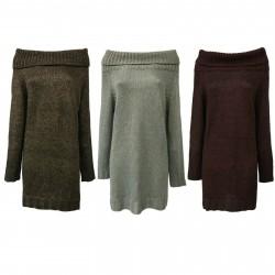 VICOLO TRIVELLI maglia donna lunga collo alto lana art 8502 MADE IN ITALY