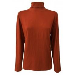 ELENA MIRO ' t- shirt donna collo alto colore mattone 95 % viscosa 5 % elastan