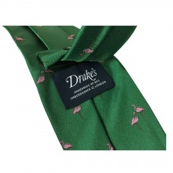 DRAKE'S LONDON 8 cm tie lined Flamingos green background MADE IN ENGLAND