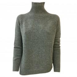 BE YOU by GERALDINE ALASIO woman sweater gray asymmetrical mod BSLAD41W19 100% cashmere