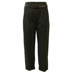 TELA Pantalone donna cintura pelle mod VARCO 50% lana 50% cotone MADE IN ITALY