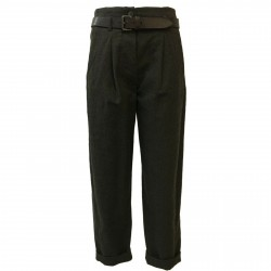 TELA woman trousers with leather belt mod VARCO 50% wool 50% cotton MADE IN ITALY