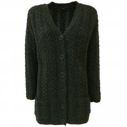 ASPESI Cardigan lana donna trecce verde mod P3885 5162 100% lana MADE IN ITALY