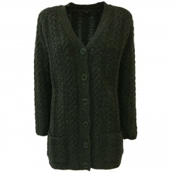 ASPESI women's green cardigan mod P3885 5162 100% wool MADE IN ITALY
