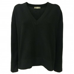 TREDICINODI women's sweater over black 70% wool 30% cashmere mod W1321 MADE IN ITALY