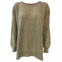 TREDICINODI women's sweater over dove gray 100% felted cashmere mod W1343 MADE IN ITALY