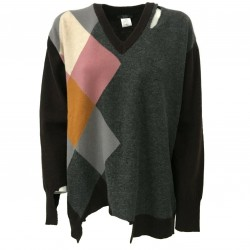 SO.BE women's sweater over with rips 100% wool mod 9502 MADE IN ITALY