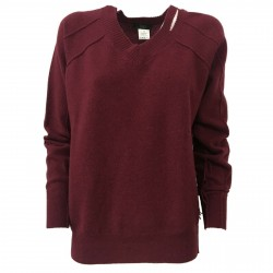 SO.BE women's sweater over bordeaux with rips 100% wool mod 9508 MADE IN ITALY