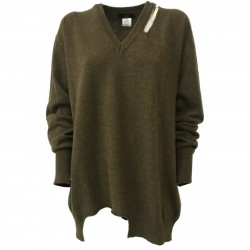 SO.BE women's sweater over brown with rips 100% wool mod 9510 MADE IN ITALY