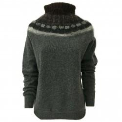 SO.BE Maglia donna lana grigio/moro collo alto con bordo mod 9598 MADE IN ITALY