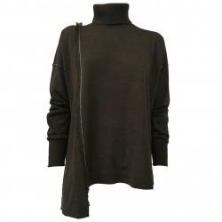 SO.BE Maglia donna lana collo alto marrone con impunture ecru mod 9624 MADE IN ITALY