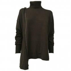 SO.BE women's sweater wool turtleneck brown mod 9624 MADE IN ITALY