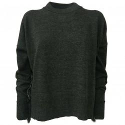 SO.BE Maglia donna lana lupetto manica lunga antracite/perla mod 9628 MADE IN ITALY