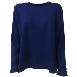 ANNA SERAVALLI Maglia donna girocollo asimmetrica bluette mod S707 100% lana