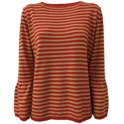 ANNA SERAVALLI woman sweater stripes wool/cashmere mod S711 MADE IN ITALY