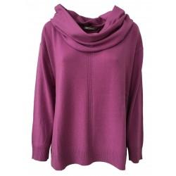 ELENA MIRÒ, maglia donna scollo a V glicine con collo staccabile 90% lana 10% cashmere