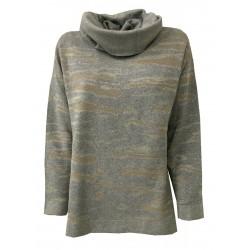 ELENA MIRÒ, maglia donna girocollo con collo staccabile grigio/begie/oro