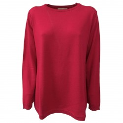 ANNA SERAVALLI woman sweater over black cherry 100% wool mod S736 MADE IN ITALY