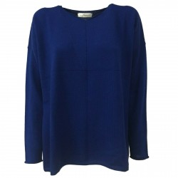 ANNA SERAVALLI woman sweater over bluette 100% wool mod S737 MADE IN ITALY