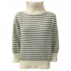 ANNA SERAVALLI woman sweater turtle neck wool/cashmere mod S787 MADE IN ITALY