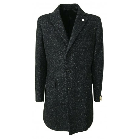 LUIGI BIANCHI cappotto uomo blu melange con martingala dietro