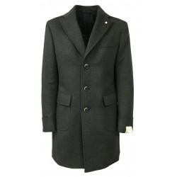 LUIGI BIANCHI MANTOVA cappotto uomo grigio con martingala 90% lana 10% cashmere