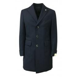 LUIGI BIANCHI MANTOVA cappotto uomo blu chiaro con martingala 100% lana