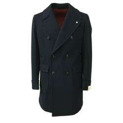 LUIGI BIANCHI MANTOVA man double-breasted coat with martingale behind, color blue mélange
