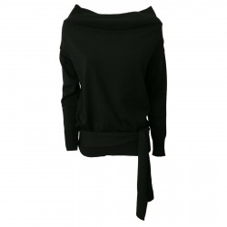ALPHA STUDIO women's black sweater art AD-2074C 100% wool