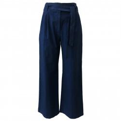 4.10 by BKØ Pantalone donna bluette con cintura mod DD19040 RIGATO MADE IN ITALY