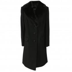 PERSONA by Marina Rinaldi cappotto donna nero 1 petto mod QUASTRO 90% lana 10% cashmere