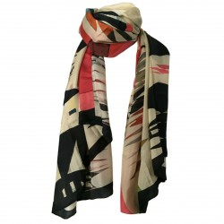 TELA woman scarf multicolor mod FLUIDA 100% silk MADE IN INDIA