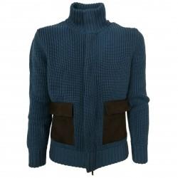 ALPHA STUDIO Cardigan uomo pesante tasche pelle di camoscio mod AU-1140N 100% lana