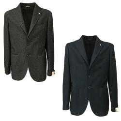 L.B.M 1911 giacca uomo grigio/nero 45% cotone 40% lana 15% poliamide 2837