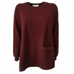 CORTE DEI GONZAGA GOLD woman sweater bordeaux with studs art 5030
