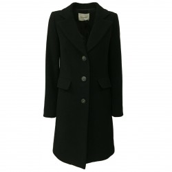 RUE BISQUIT woman coat black mod BASIC OLIMPO 80% wool MADE IN ITALY
