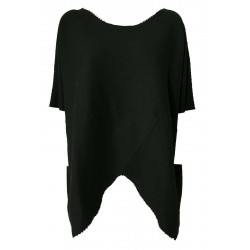 NEIRAMI oversize shirt woman dropped sleeve black mod TS956 LINDA 100% cotton MADE IN ITALY