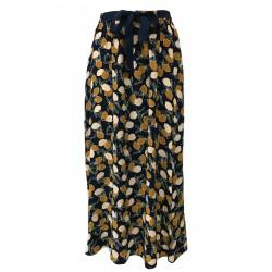 DES PETITS HAUTES women's skirt blue/ocher mod TINIKI 100% viscose