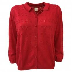 DES PETITS HAUTES women's sweater red cotton/linen mod ARTIE