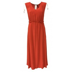 PENNYBLACK long woman dress in coral crépon sleeveless mod MAFALDA 100% viscose